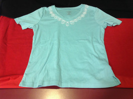 Pretty Hasting and Smith Ladies Light Blue Short Sleeve Top Size PS image 1