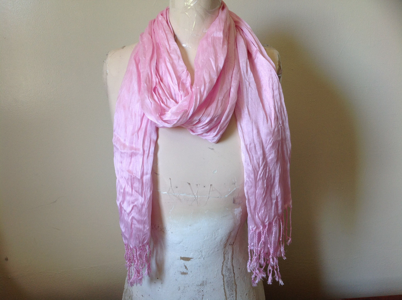 Pretty Light Pink Scrunched Style Tasseled Fashion Scarf Soft Material