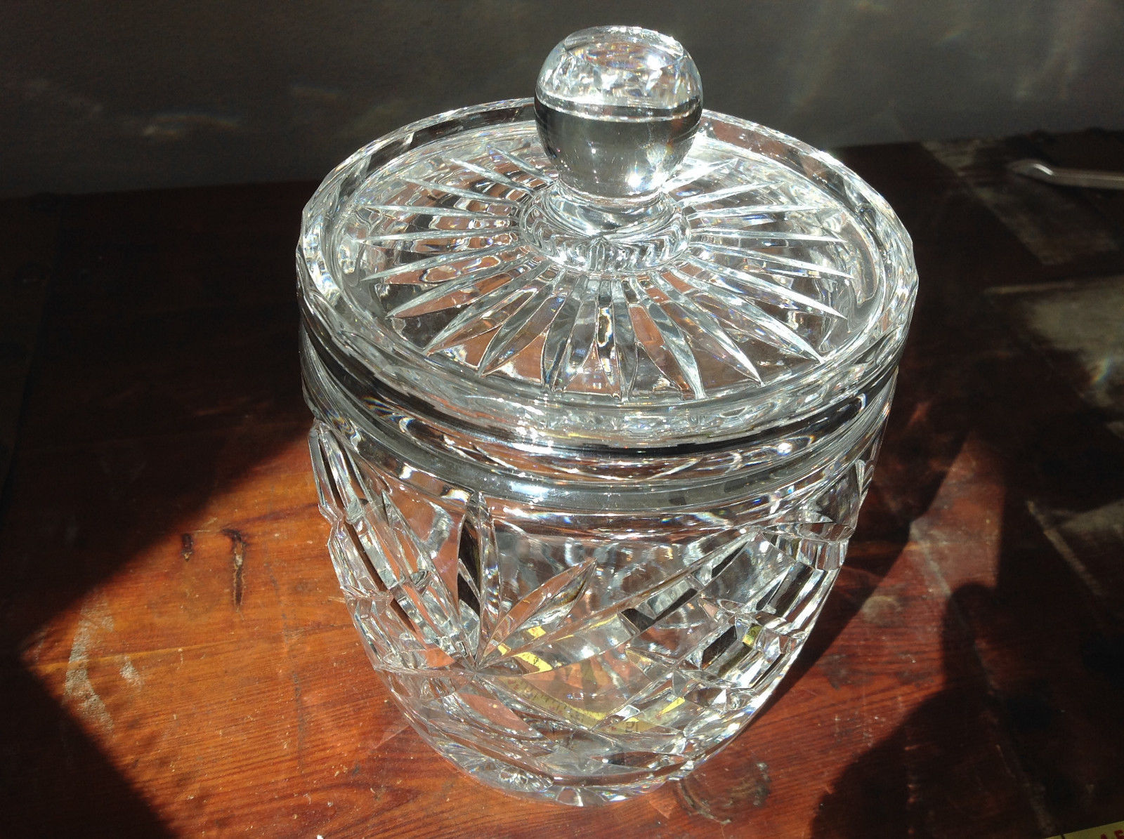Pretty Large Clear Crystal Jar with Lid with Engraving