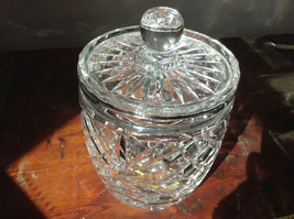 Pretty Large Clear Crystal Jar with Lid with Engraving image 1