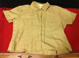 Pretty Light Brown Ladies Blouse from Silklane Collections Short Sleeves SIze PM