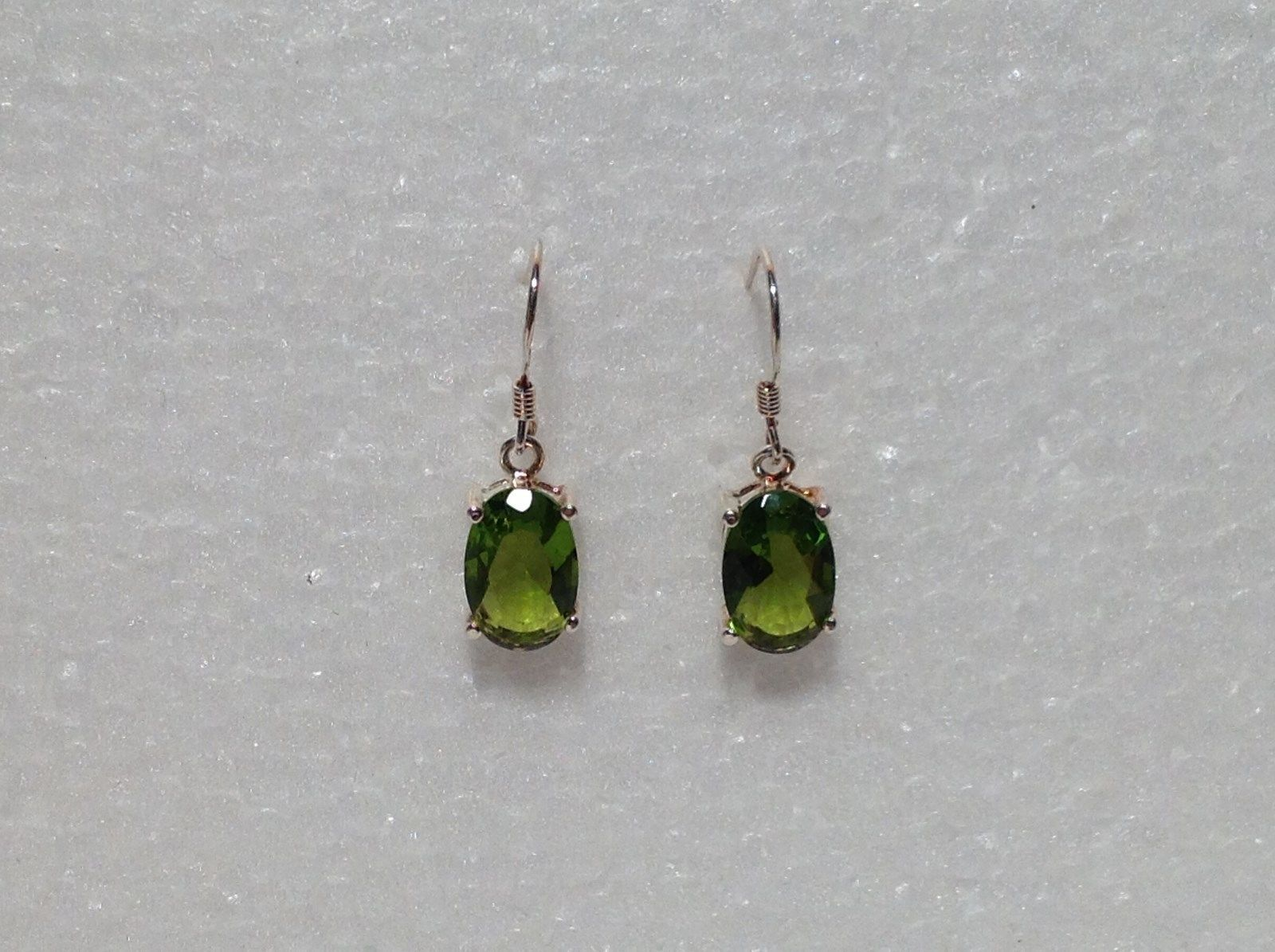 Pretty Green Oval CZ Stone Silver Dangling Earrings