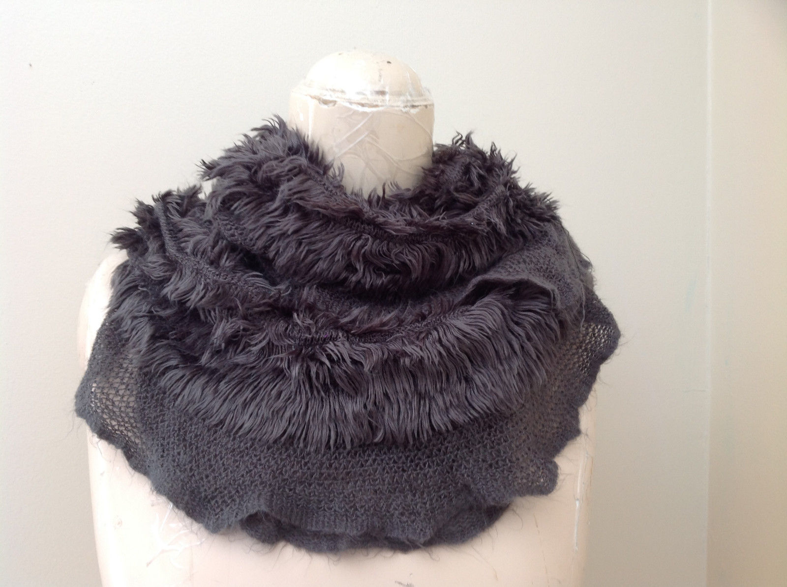 Pretty Frilly Furry Gray Infinity Scarf Length One Side 28 Inches