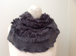 Pretty Frilly Furry Gray Infinity Scarf Length One Side 28 Inches - £22.85 GBP