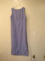 Long Blue Sleeveless Dress Amanda Smith Size 14 Fully Lined Embroidery on Front image 2