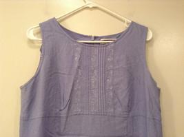 Long Blue Sleeveless Dress Amanda Smith Size 14 Fully Lined Embroidery on Front image 3