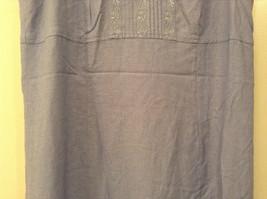 Long Blue Sleeveless Dress Amanda Smith Size 14 Fully Lined Embroidery on Front image 4
