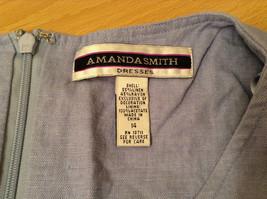 Long Blue Sleeveless Dress Amanda Smith Size 14 Fully Lined Embroidery on Front image 10