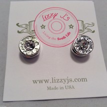 Lizzy J bullet stud silver traditional finish earrings USA made w crystal center image 2