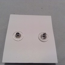 Lizzy J bullet stud silver traditional finish earrings USA made w crystal center image 4