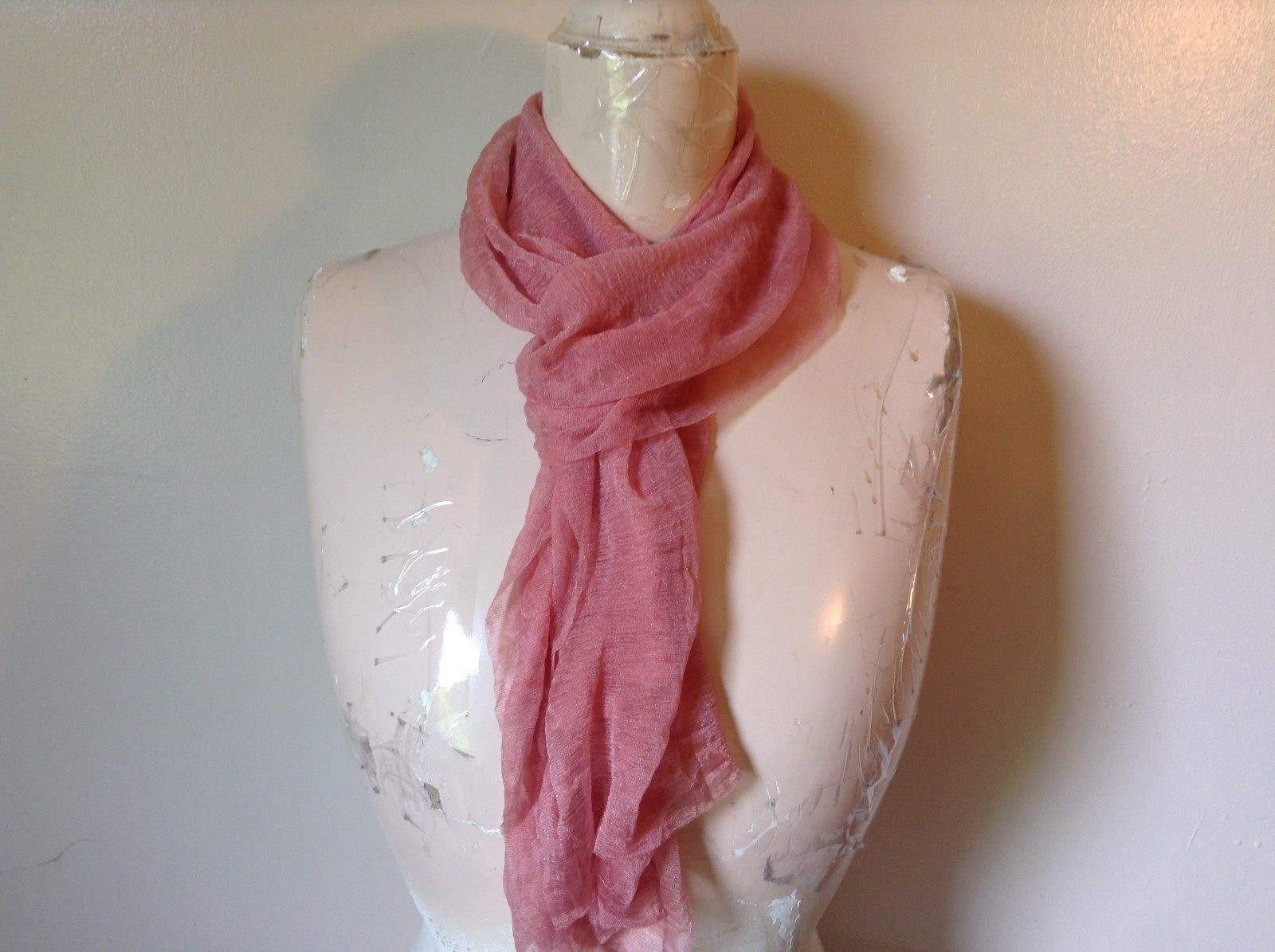 Pretty Pale Pink flesh tone shiny sheer delicate new scarf