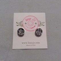 Lizzy J bullet stud silver traditional finish earrings USA made w crystal center image 3