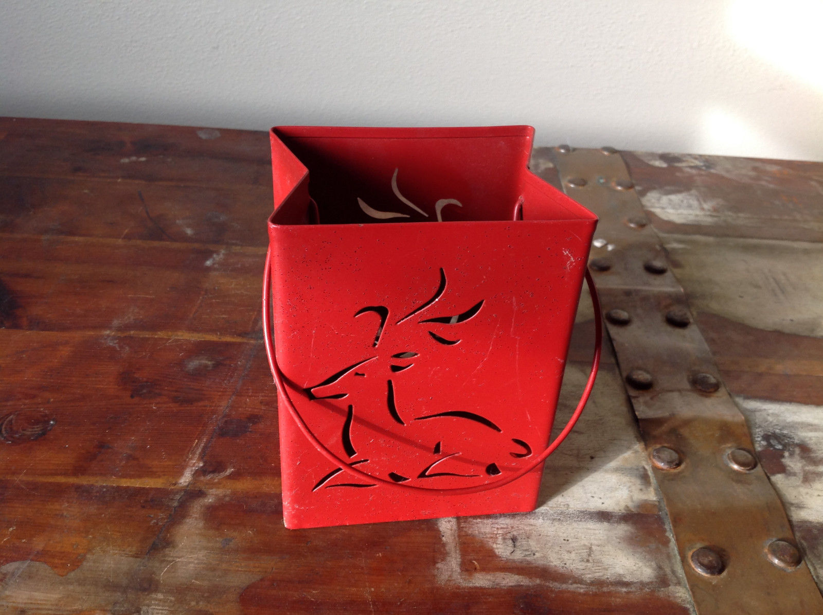 Pretty Red Metal Basket Bag with Handle Deer Glitter  Luminaria or holiday deco