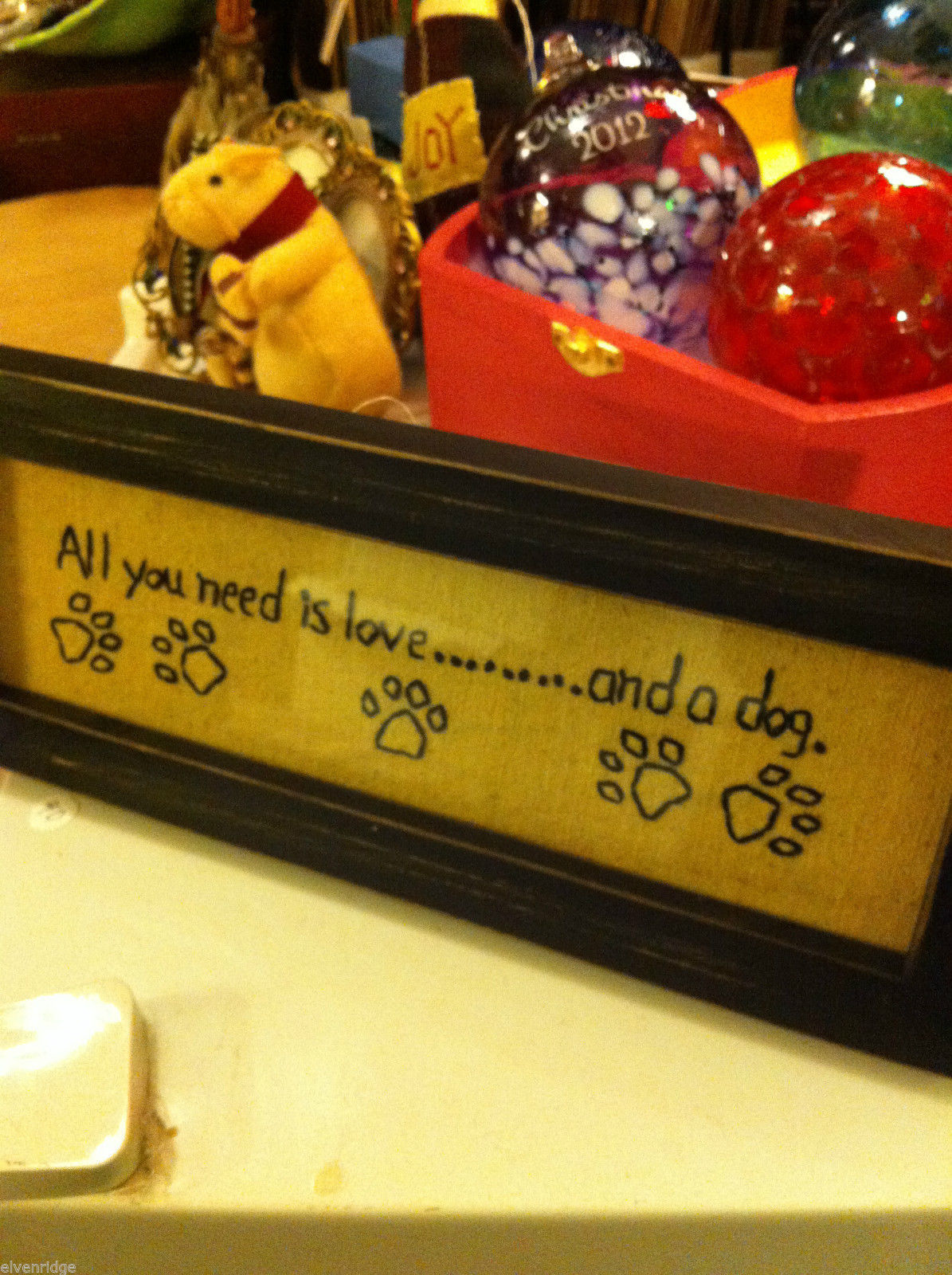 Primitive Embroidered Framed All You Need is Love and a dOG Saying