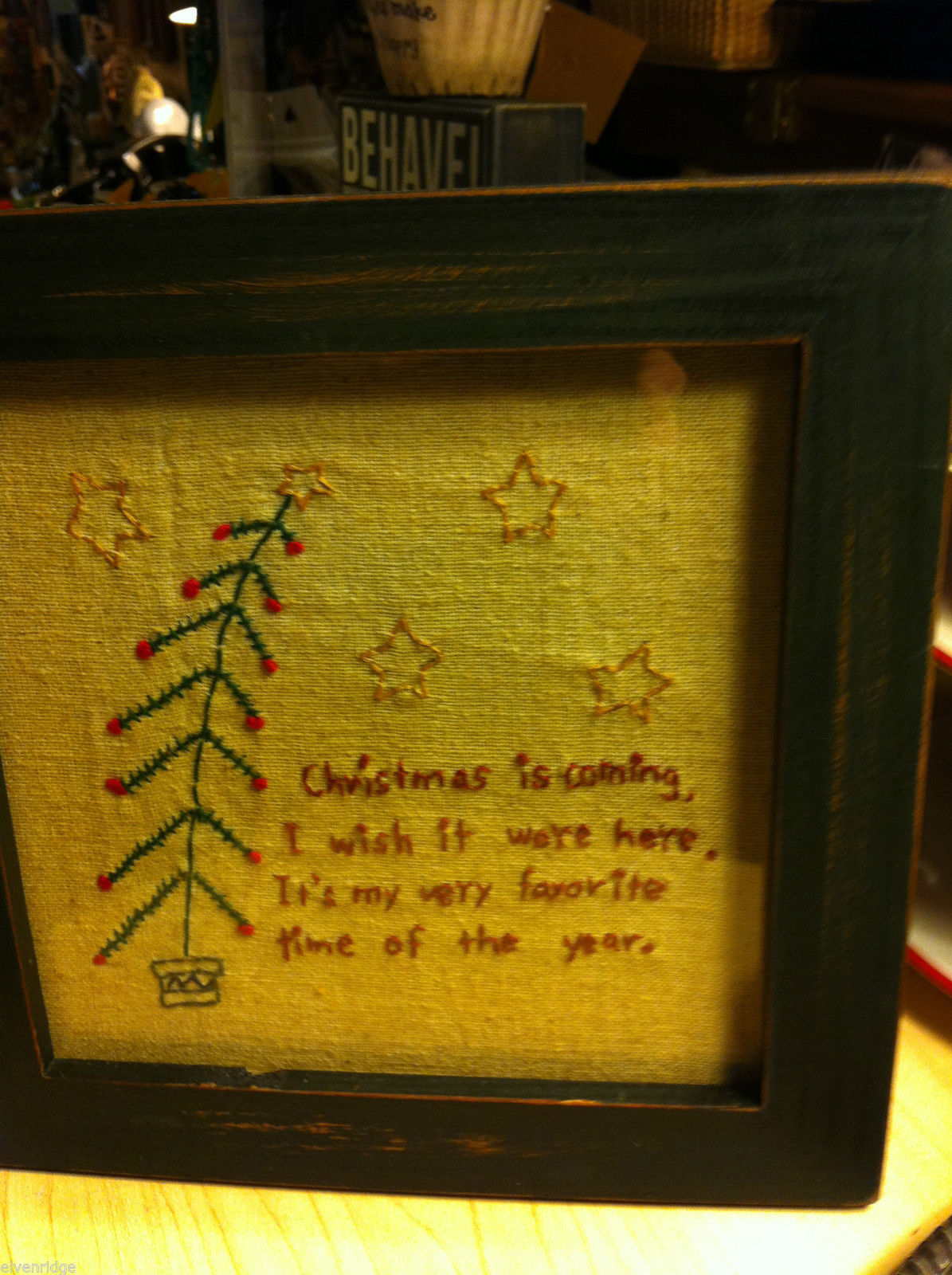 "Primitive Framed Stitching of ""Christmas is Coming"""
