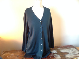 Preview Collection Dark Green V-Neck Wool Blend Long Sleeve Cardigan Size Medium image 1
