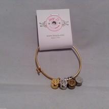 Lizzy J bullet charm bracelet, shiny gold silver vintage gold and silver image 3
