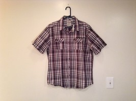 Private Blue Words to Live By Short Sleeve Plaid 100 Percent Cotton Size XL