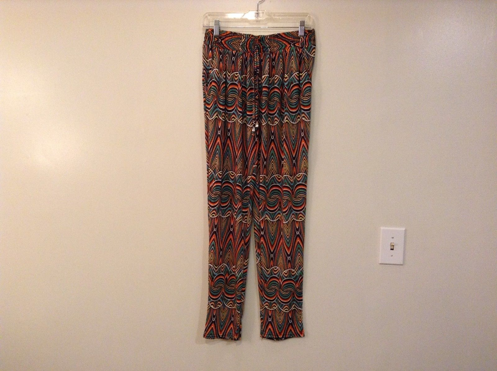 Printed wide leg pants, one size fits most w pockets elastic waist open bottom