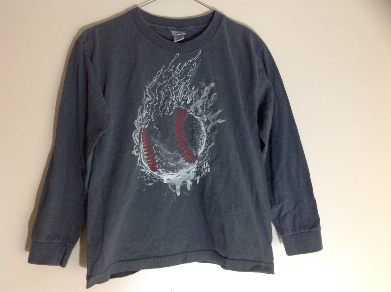 Prospirit Gray Baseball Graphic Long Sleeve Shirt Size 8 to 10
