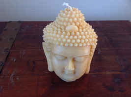Pure Bees Wax Big Yellow Buddha Head Candle Height 6 Inches