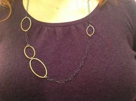 Long Multi Oval Necklace Gold w Black Oxide Silver Chain Handmade Zina Kao image 7