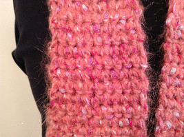 Long Knitted Pink Scarf Pink Acrylic Yarn with Metallic Accent Very Soft image 2
