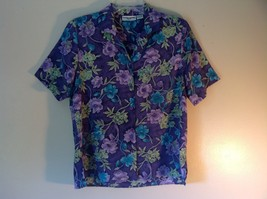 Purple Alfred Dunner Petite Size 8 Button Up Shirt Green Blue Purple Flowers