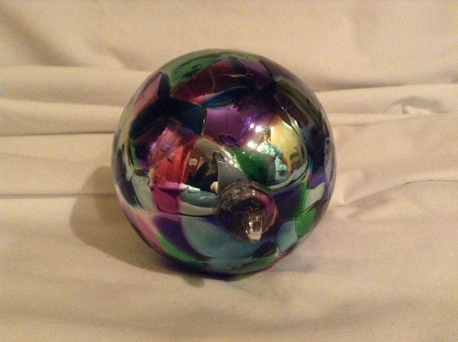 Purple Blue Green Hand Blow Glass Heirloom Ornament Shiny Metallic Made in USA
