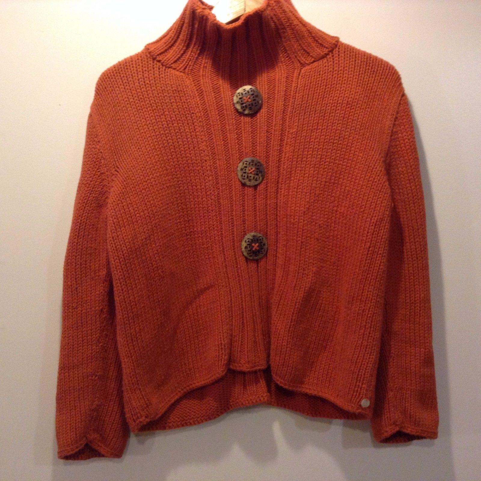 Pure Hand Knit Orange Turtle Neck Sweater Cotton Size M