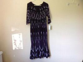 Purple Black Circular Patterned Calf Length Dress Looks Belted Size 10