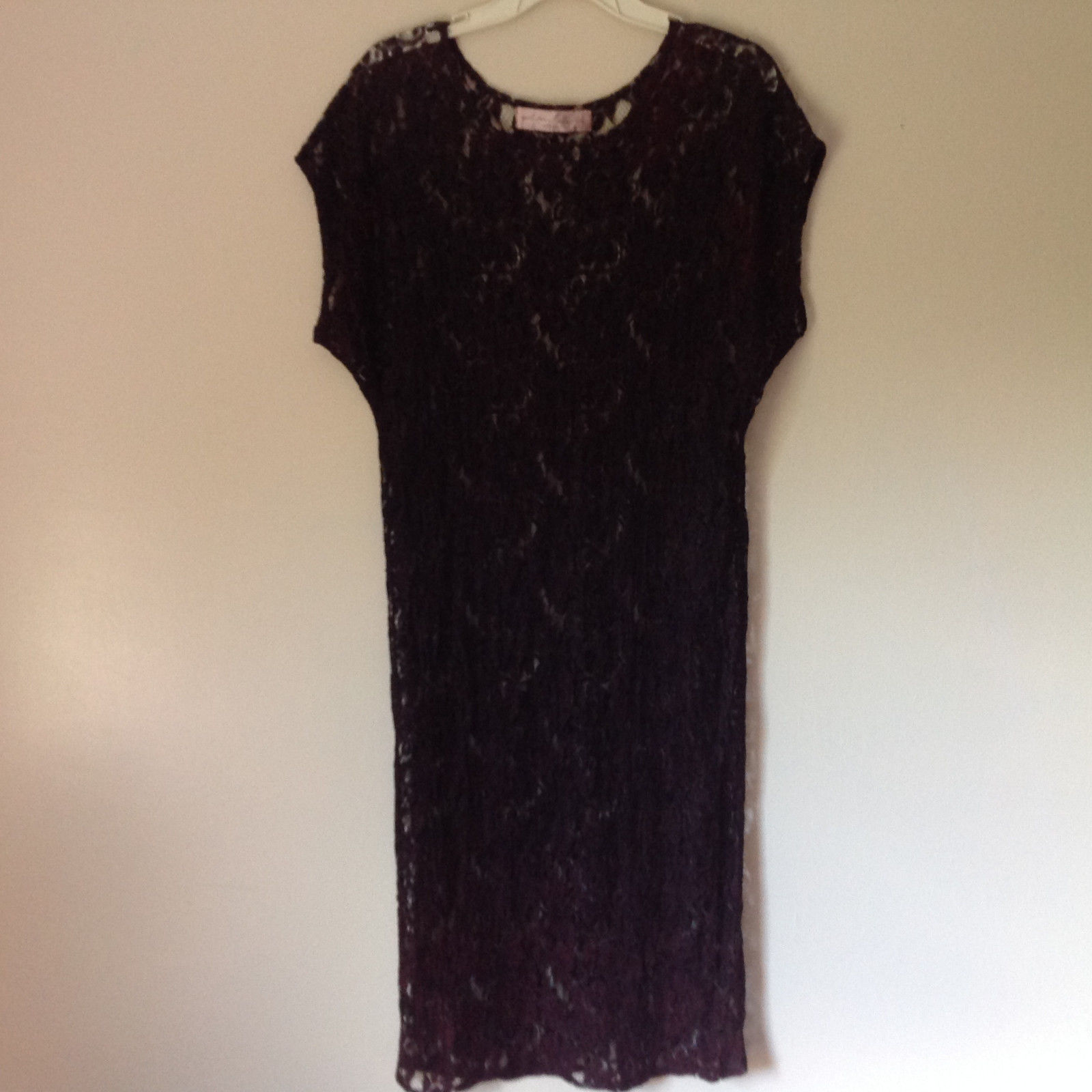 Purple Black See Through Short Sleeve Dress by Elin Cosyo California No Size Tag