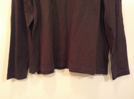 Long Sleeve Dark Brown Scoop Neck Lands End Top Size L 14  to 16 Side Slits image 4