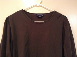 Long Sleeve Dark Brown Scoop Neck Lands End Top Size L 14  to 16 Side Slits image 3