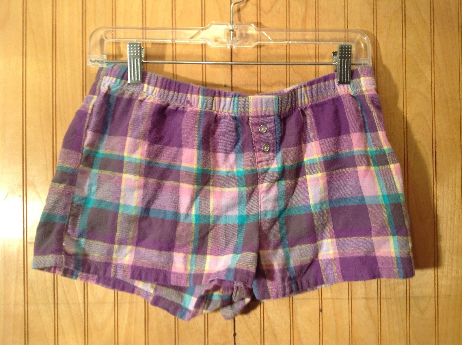 Purple Blue Yellow Plaid 100 Percent Cotton Pajama Shorts Size Medium