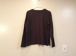Long Sleeve Dark Brown Scoop Neck Lands End Top Size L 14  to 16 Side Slits image 2