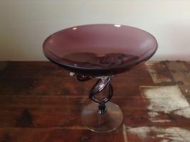Purple Fancy Glass Large Intertwined Stem candy dish decorative image 1