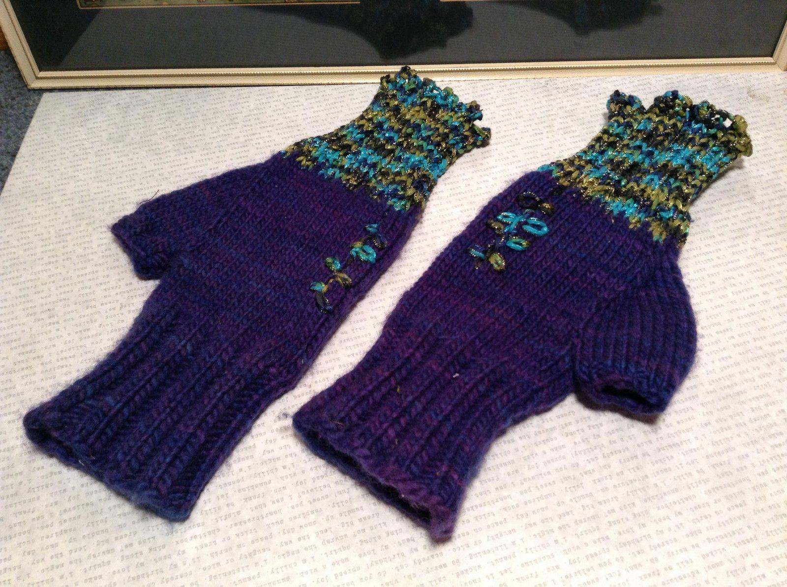 Purple Green Blue Hand Knitted Woven Fingerless Gloves Very Soft