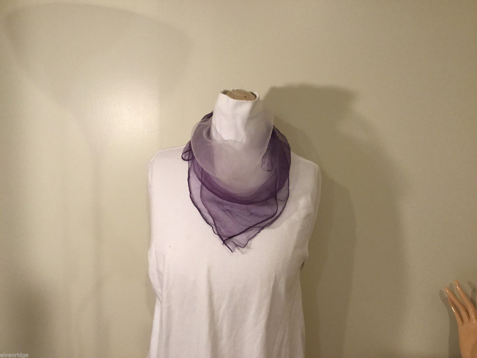 "Purple and White Sheer Small Square Scarf, 24"" by 24"" 100% Nylon"