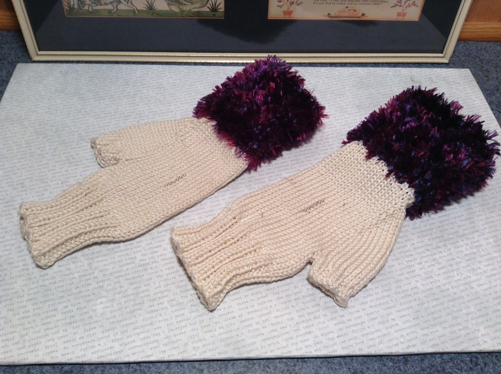 Purple and White Hand Knitted Woven Fingerless Gloves Very Soft