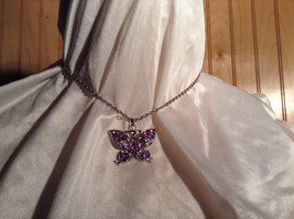 Purple Jewel Butterfly Silver Tone Pendant Necklace Slip Through Closure image 1