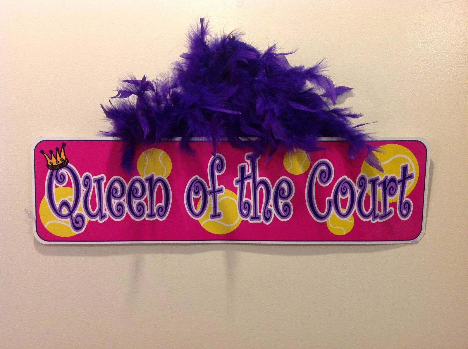 Queen of the Court Groovy Signs Metal Sign Hanger Purple Feathers Pink Purple
