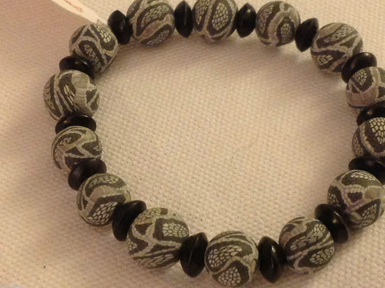 Python snake skin  stretchy bracelet with wood spacers made in USA
