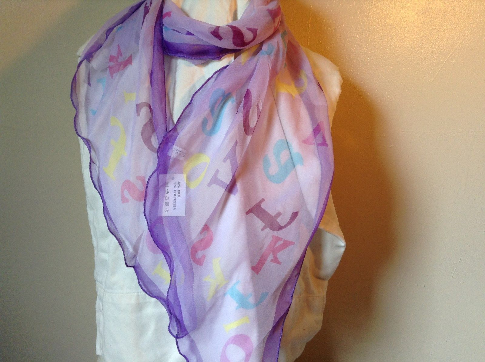 Purple Fennysun with Letters in Different Colors 71 Inches Long