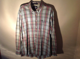 Long Sleeve Button Up Collared DOCKERS Shirt Plaid Red Green Yellow Blue Size M image 2