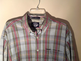 Long Sleeve Button Up Collared DOCKERS Shirt Plaid Red Green Yellow Blue Size M image 4