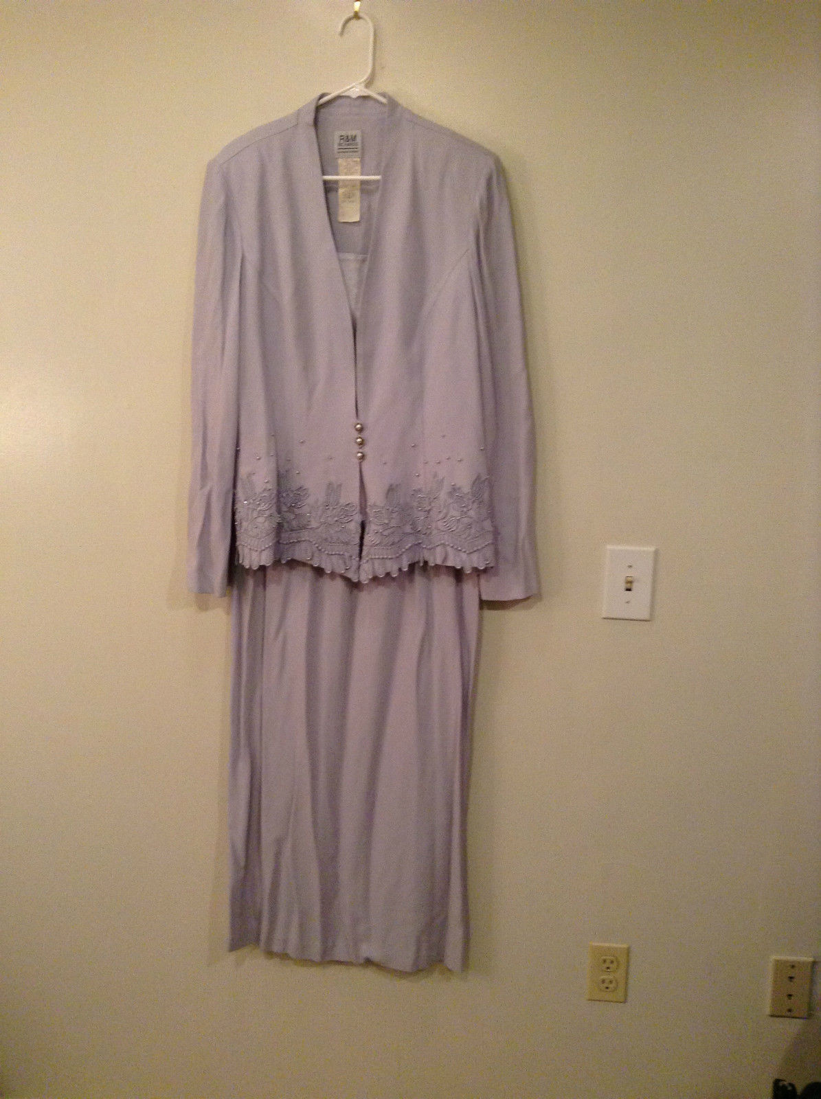 R and M Richards Formal Light Lavender Jacket and Skirt Set Size 16