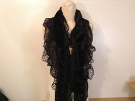 RIKKA Black Faux Fur Knitted Scarf 100 Percent Acrylic NEW WITH TAG