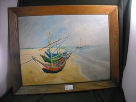 REPRODUCTION  Oil Painting of Fishing Boats  Van Gogh REPRODUCTION