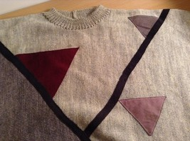 Long Sleeve Gray Sweater Natural Leather Decorations Leena Lehtinen No Size Tag image 7